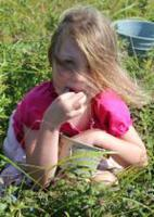 Girl in field eating blueberries from a bucket