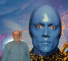 Lou with huge Blue Man Group head