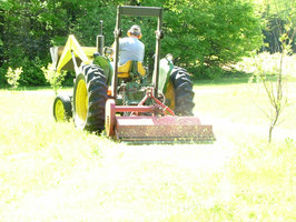 The flail mower is used on the manicured and developed fields.